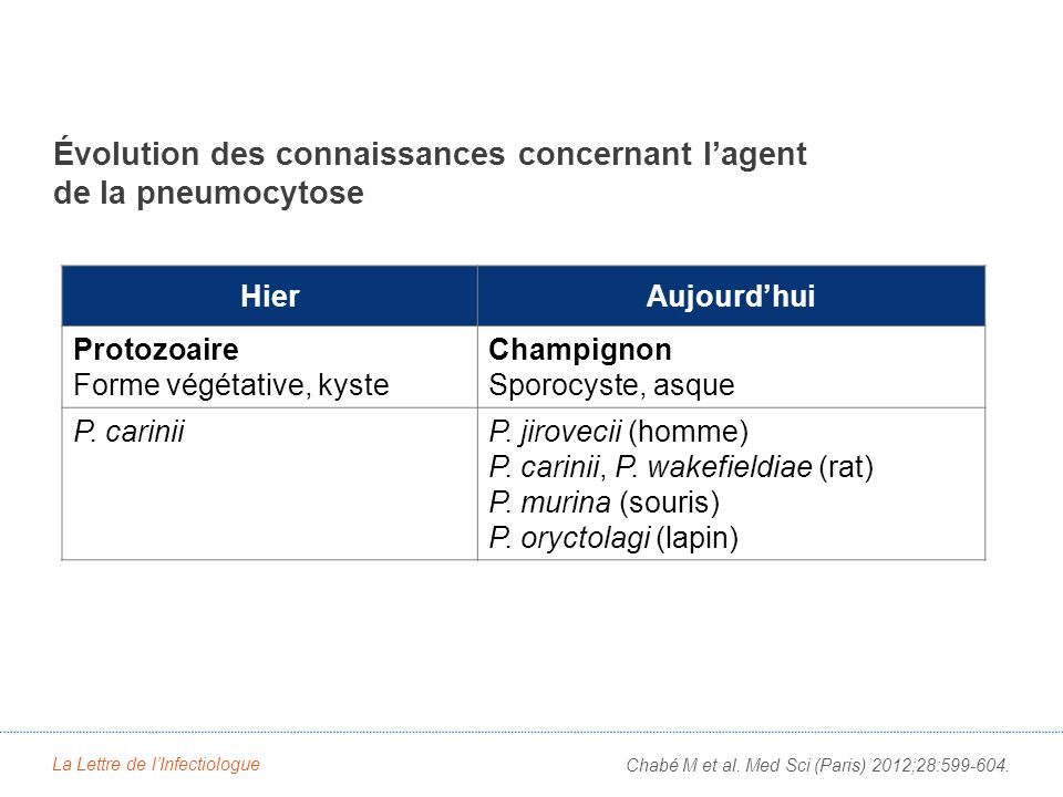 La Lettre de lInfectiologue Chabé M et al. Med Sci (Paris) 2012;28:599-604. Évolution des connaissances concernant lagent de la pneumocytose HierAujou