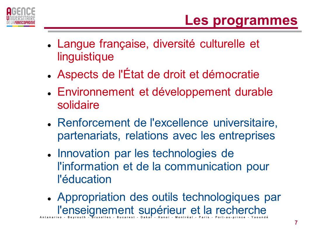 7 Les programmes Langue française, diversité culturelle et linguistique Aspects de l État de droit et démocratie Environnement et développement durable solidaire Renforcement de l excellence universitaire, partenariats, relations avec les entreprises Innovation par les technologies de l information et de la communication pour l éducation Appropriation des outils technologiques par l enseignement supérieur et la recherche
