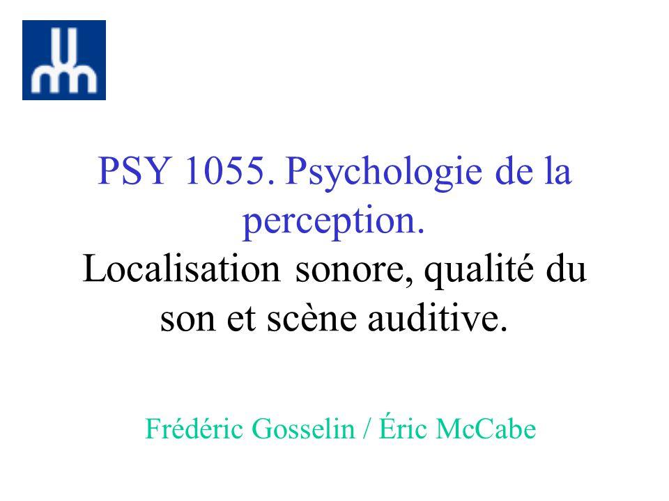 PSY 1055.Psychologie de la perception. Localisation sonore, qualité du son et scène auditive.