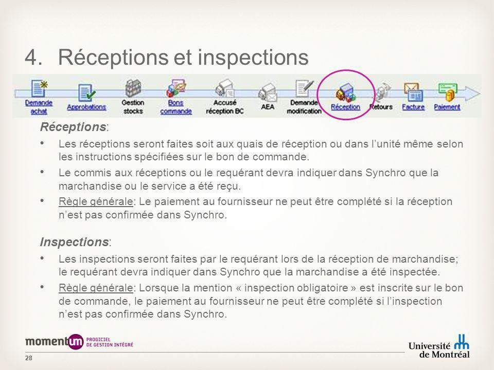 28 4.Réceptions et inspections Réceptions: Les réceptions seront faites soit aux quais de réception ou dans lunité même selon les instructions spécifi