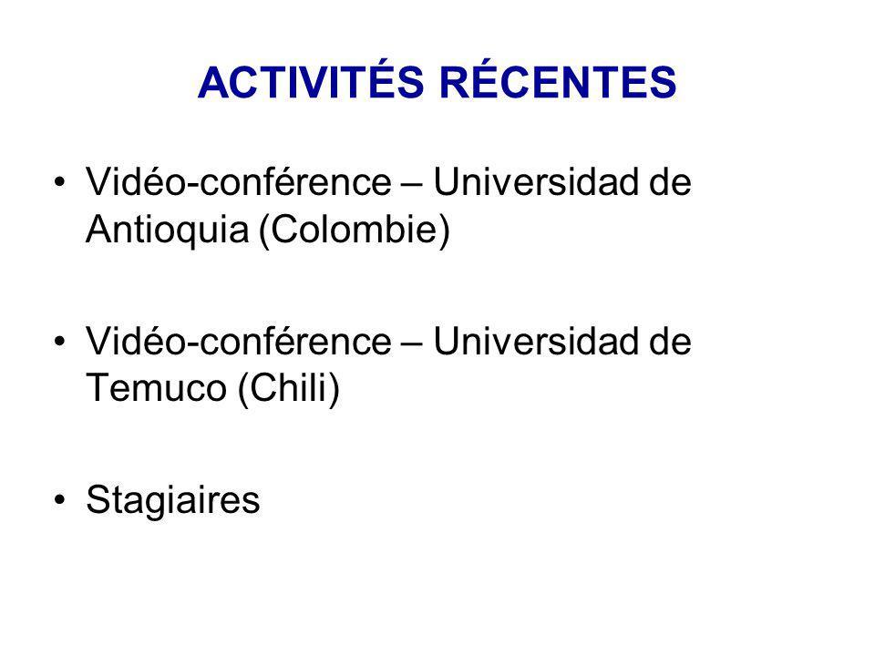 ACTIVITÉS RÉCENTES Vidéo-conférence – Universidad de Antioquia (Colombie) Vidéo-conférence – Universidad de Temuco (Chili) Stagiaires