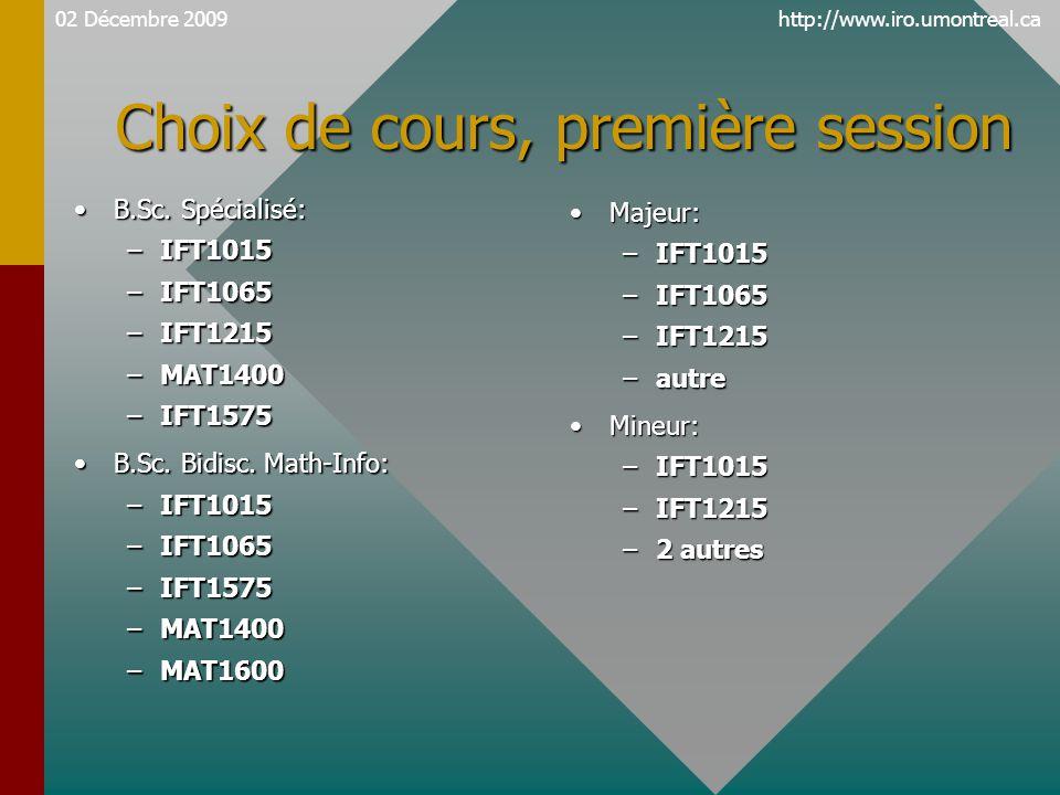 http://www.iro.umontreal.ca Choix de cours, première session B.Sc. Spécialisé:B.Sc. Spécialisé: –IFT1015 –IFT1065 –IFT1215 –MAT1400 –IFT1575 B.Sc. Bid
