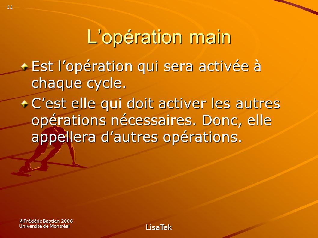 11 ©Frédéric Bastien 2006 Université de Montréal LisaTek Lopération main Est lopération qui sera activée à chaque cycle.