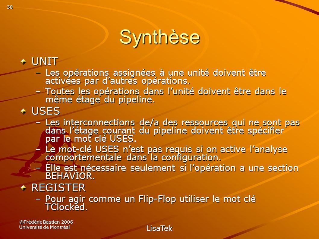 30 ©Frédéric Bastien 2006 Université de Montréal LisaTek Synthèse UNIT –Les opérations assignées à une unité doivent être activées par dautres opérations.