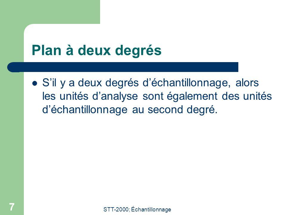STT-2000; Échantillonnage 7 Plan à deux degrés Sil y a deux degrés déchantillonnage, alors les unités danalyse sont également des unités déchantillonn