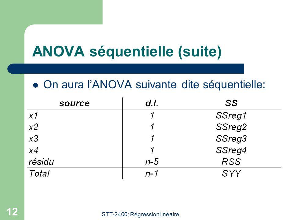 STT-2400; Régression linéaire 12 ANOVA séquentielle (suite) On aura lANOVA suivante dite séquentielle: