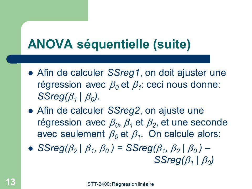STT-2400; Régression linéaire 13 ANOVA séquentielle (suite) Afin de calculer SSreg1, on doit ajuster une régression avec 0 et 1 : ceci nous donne: SSr