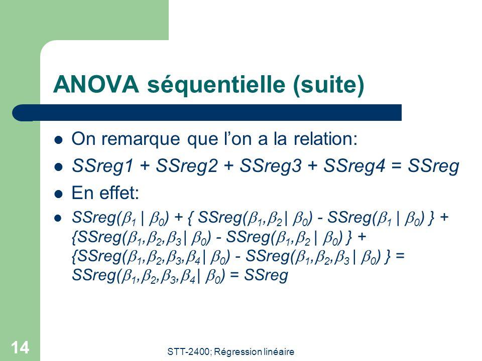 STT-2400; Régression linéaire 14 ANOVA séquentielle (suite) On remarque que lon a la relation: SSreg1 + SSreg2 + SSreg3 + SSreg4 = SSreg En effet: SSr