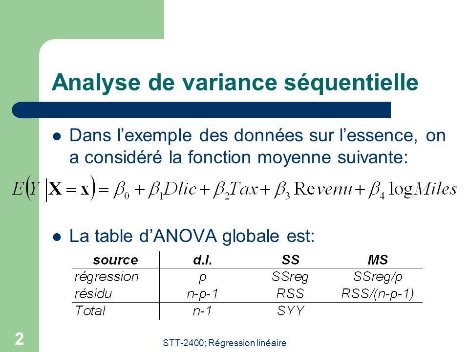 STT-2400; Régression linéaire 2 Analyse de variance séquentielle Dans lexemple des données sur lessence, on a considéré la fonction moyenne suivante: