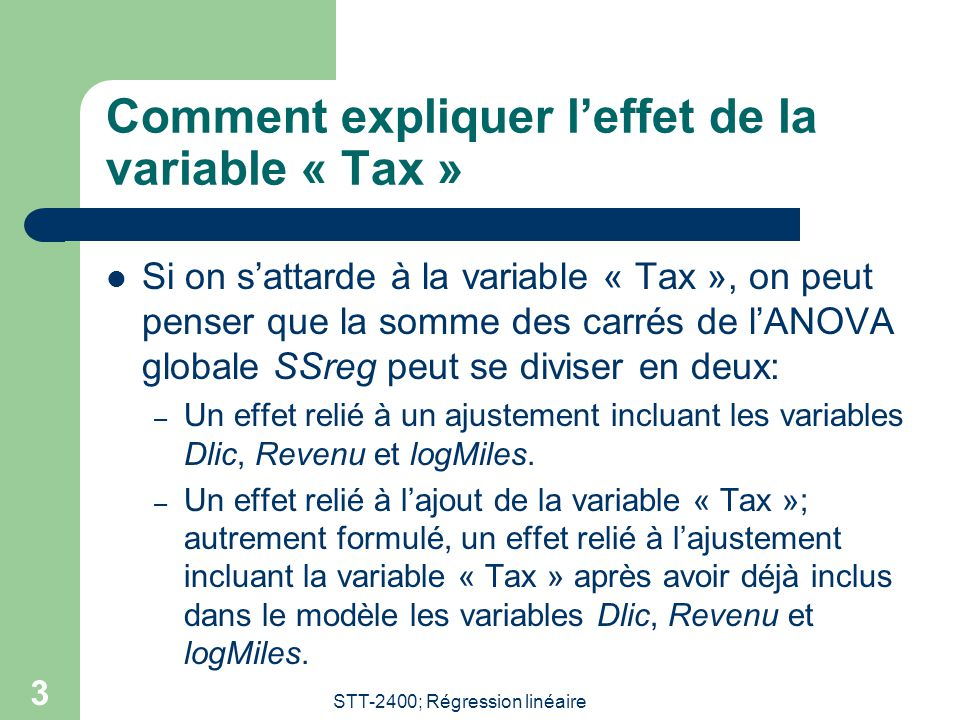 STT-2400; Régression linéaire 3 Comment expliquer leffet de la variable « Tax » Si on sattarde à la variable « Tax », on peut penser que la somme des