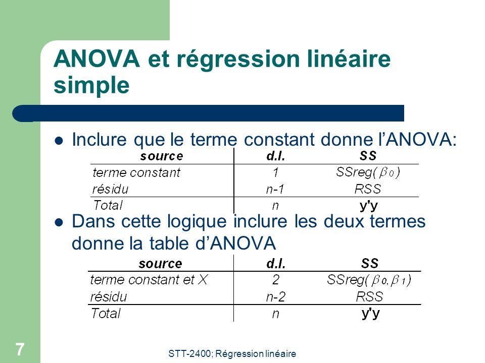 STT-2400; Régression linéaire 7 ANOVA et régression linéaire simple Inclure que le terme constant donne lANOVA: Dans cette logique inclure les deux te