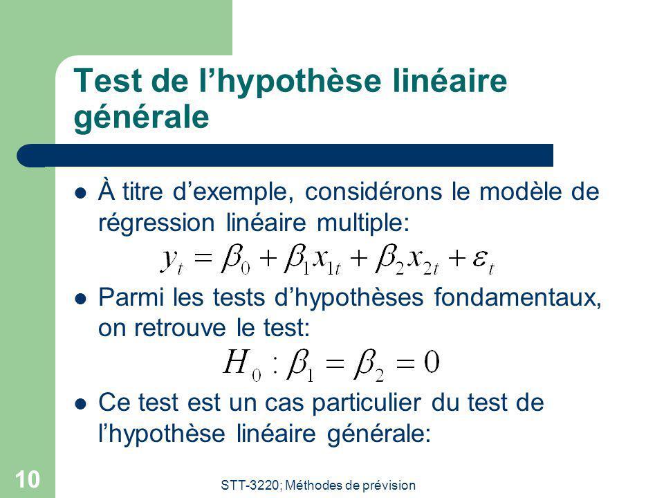 STT-3220; Méthodes de prévision 10 Test de lhypothèse linéaire générale À titre dexemple, considérons le modèle de régression linéaire multiple: Parmi