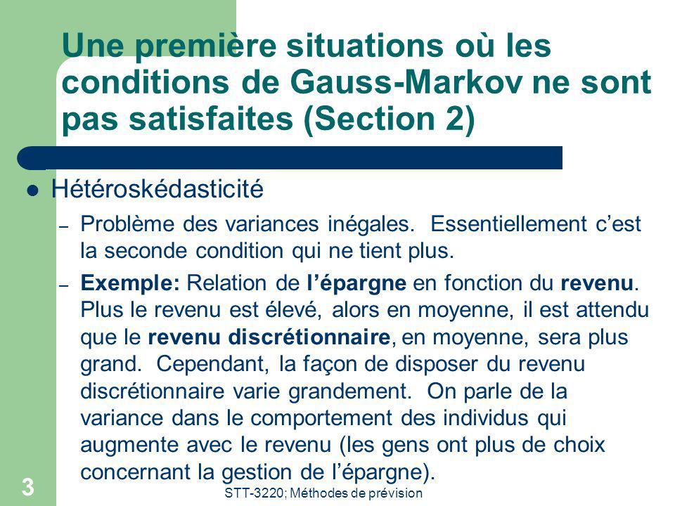 STT-3220; Méthodes de prévision 3 Une première situations où les conditions de Gauss-Markov ne sont pas satisfaites (Section 2) Hétéroskédasticité – P