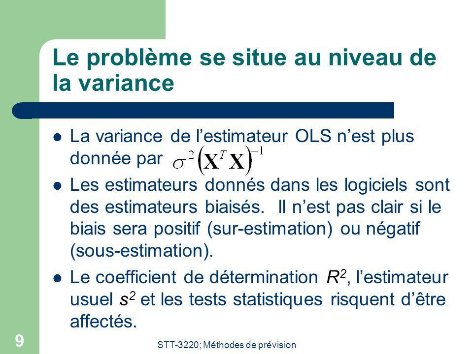 STT-3220; Méthodes de prévision 9 Le problème se situe au niveau de la variance La variance de lestimateur OLS nest plus donnée par Les estimateurs do