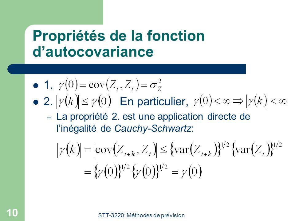 STT-3220; Méthodes de prévision 10 Propriétés de la fonction dautocovariance 1.