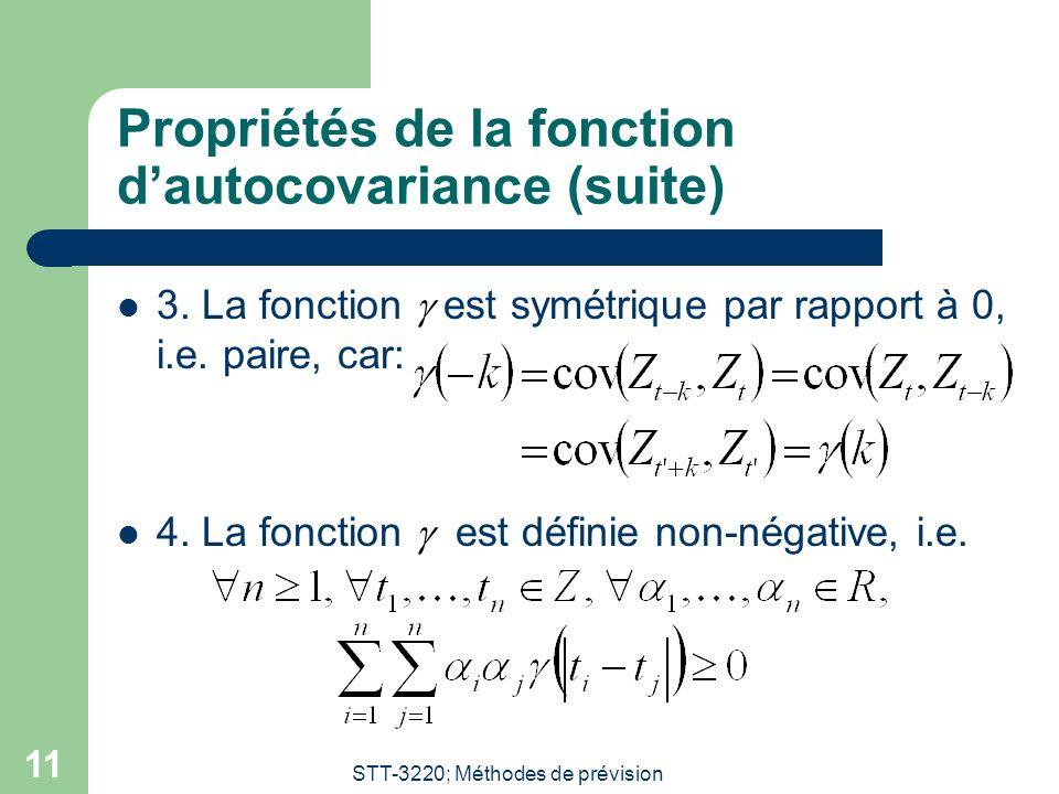 STT-3220; Méthodes de prévision 11 Propriétés de la fonction dautocovariance (suite) 3.