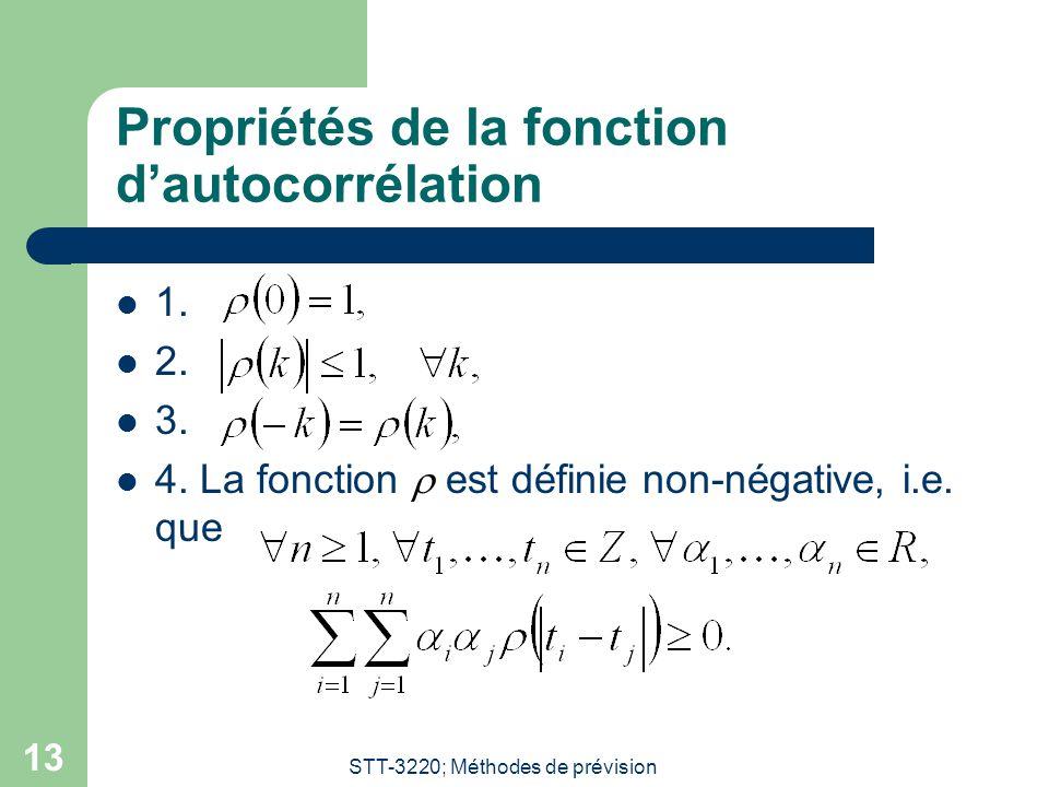 STT-3220; Méthodes de prévision 13 Propriétés de la fonction dautocorrélation 1.