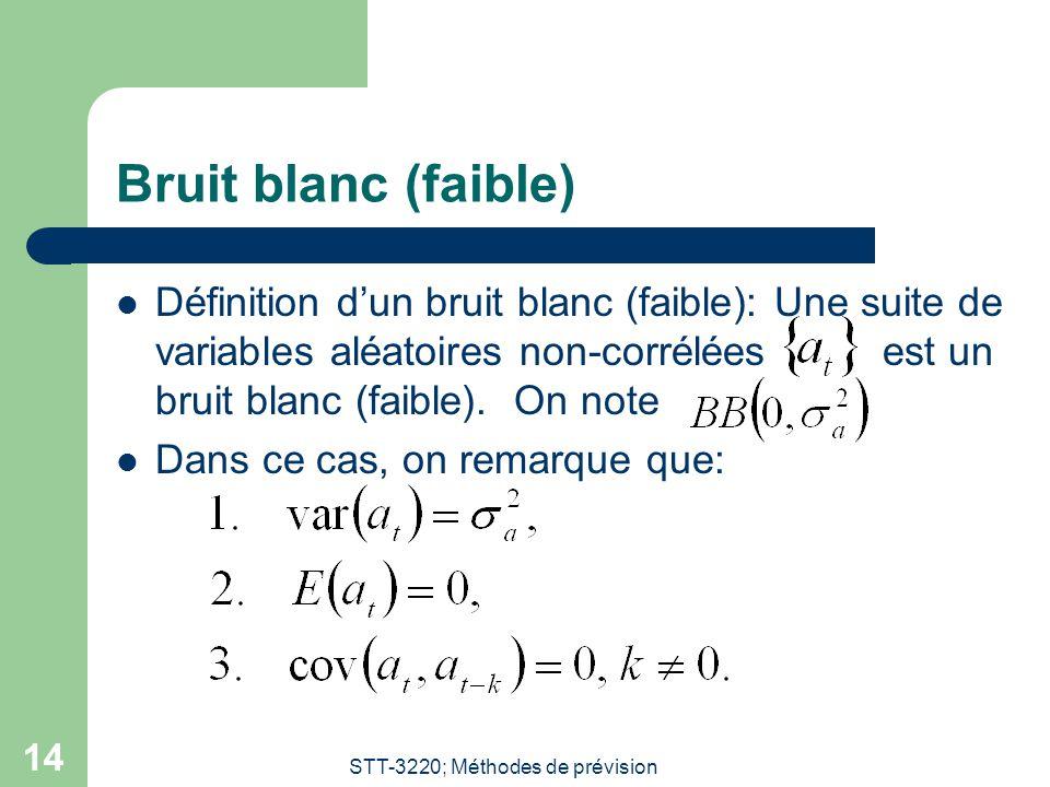 STT-3220; Méthodes de prévision 14 Bruit blanc (faible) Définition dun bruit blanc (faible): Une suite de variables aléatoires non-corrélées est un bruit blanc (faible).