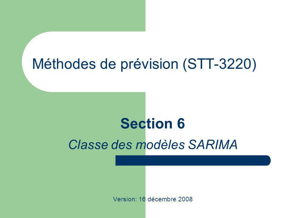Méthodes de prévision (STT-3220) Section 6 Classe des modèles SARIMA Version: 16 décembre 2008