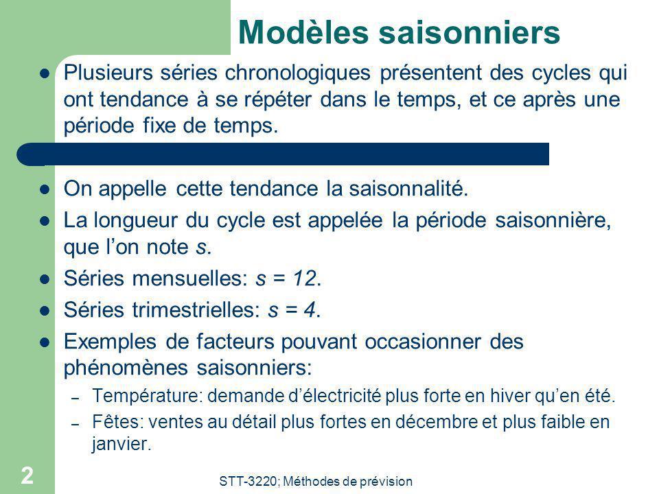 STT-3220; Méthodes de prévision 2 Modèles saisonniers Plusieurs séries chronologiques présentent des cycles qui ont tendance à se répéter dans le temp