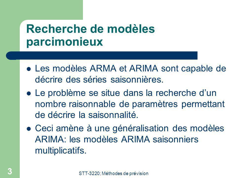 STT-3220; Méthodes de prévision 3 Recherche de modèles parcimonieux Les modèles ARMA et ARIMA sont capable de décrire des séries saisonnières. Le prob