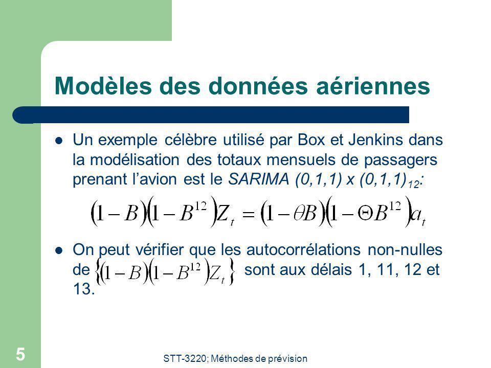 STT-3220; Méthodes de prévision 5 Modèles des données aériennes Un exemple célèbre utilisé par Box et Jenkins dans la modélisation des totaux mensuels de passagers prenant lavion est le SARIMA (0,1,1) x (0,1,1) 12 : On peut vérifier que les autocorrélations non-nulles de sont aux délais 1, 11, 12 et 13.