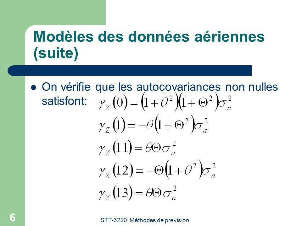STT-3220; Méthodes de prévision 6 Modèles des données aériennes (suite) On vérifie que les autocovariances non nulles satisfont: