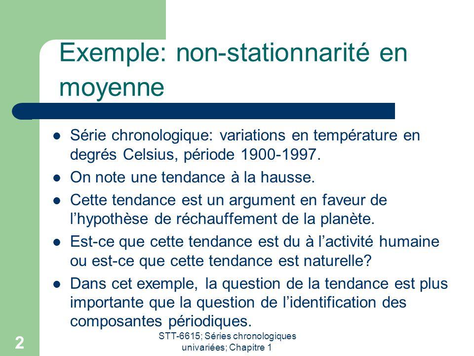 STT-6615; Séries chronologiques univariées; Chapitre 1 2 Exemple: non-stationnarité en moyenne Série chronologique: variations en température en degré