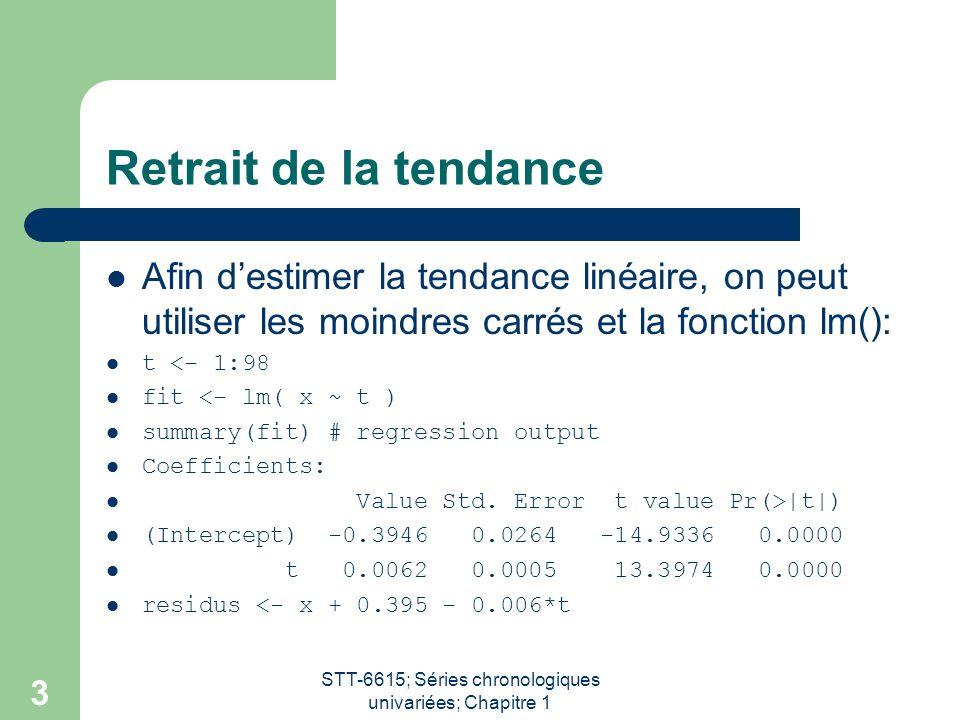 STT-6615; Séries chronologiques univariées; Chapitre 1 4 Différentiation La commande S-PLUS diff() permet deffectuer lopération de différentiation.