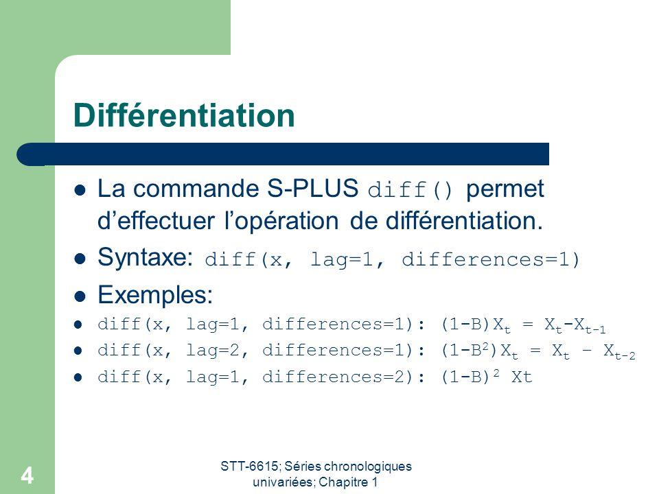STT-6615; Séries chronologiques univariées; Chapitre 1 4 Différentiation La commande S-PLUS diff() permet deffectuer lopération de différentiation. Sy