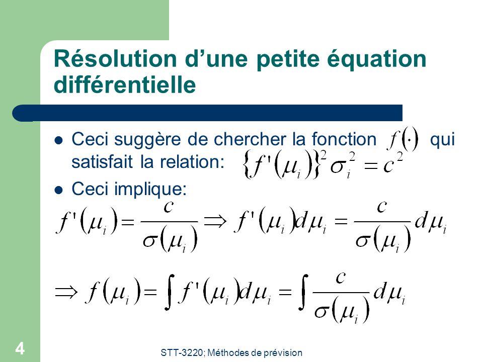 STT-3220; Méthodes de prévision 4 Résolution dune petite équation différentielle Ceci suggère de chercher la fonction qui satisfait la relation: Ceci