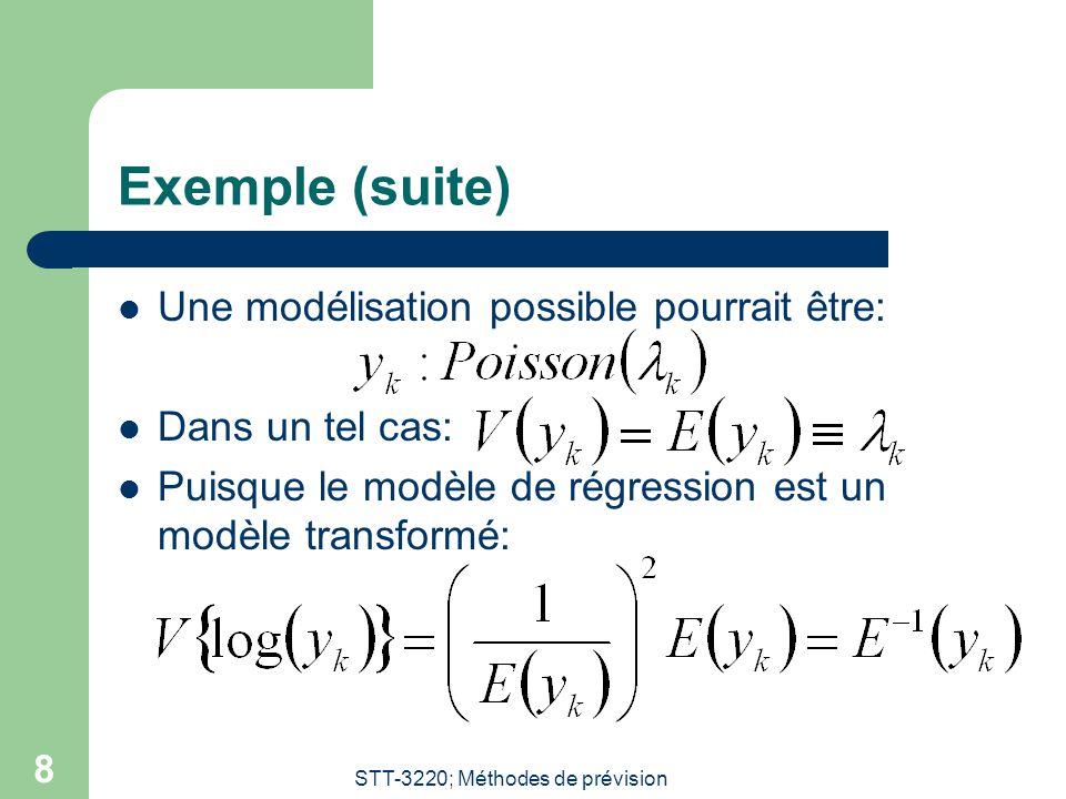 STT-3220; Méthodes de prévision 8 Exemple (suite) Une modélisation possible pourrait être: Dans un tel cas: Puisque le modèle de régression est un mod