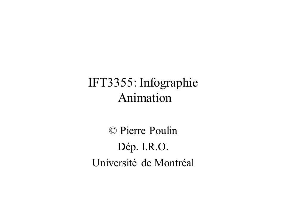 Animation - Mouvement dans le temps Objet: –position / orientation –déformation –couleur, transparence, texture –croissance, apparition, disparition –liens entre les objets