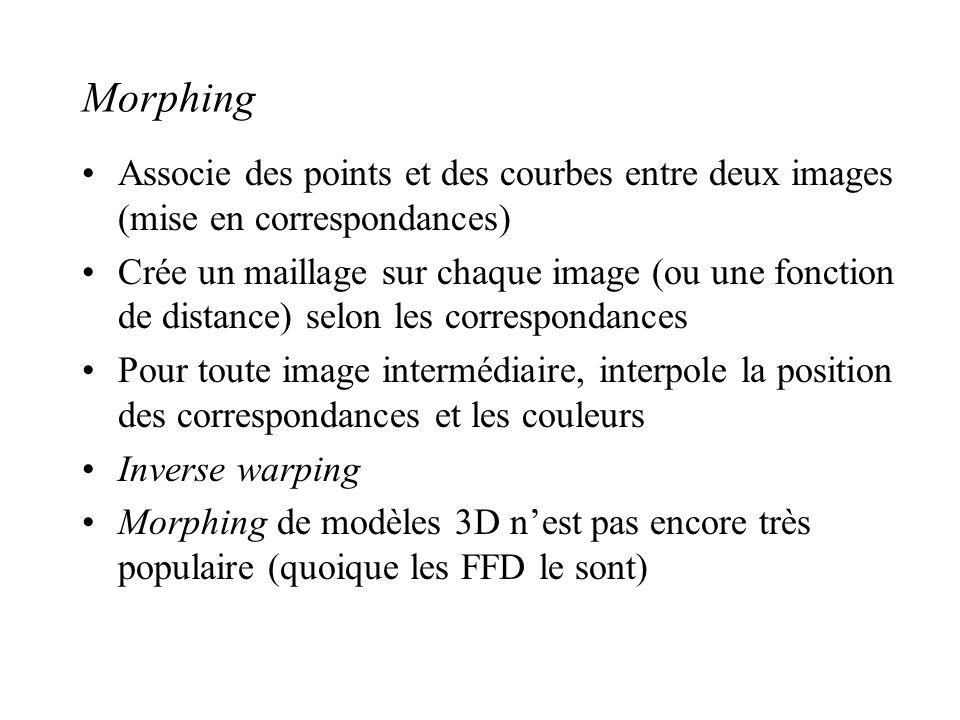 Morphing Associe des points et des courbes entre deux images (mise en correspondances) Crée un maillage sur chaque image (ou une fonction de distance)