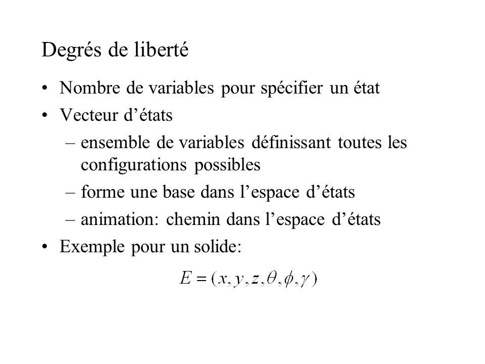 Degrés de liberté Nombre de variables pour spécifier un état Vecteur détats –ensemble de variables définissant toutes les configurations possibles –fo