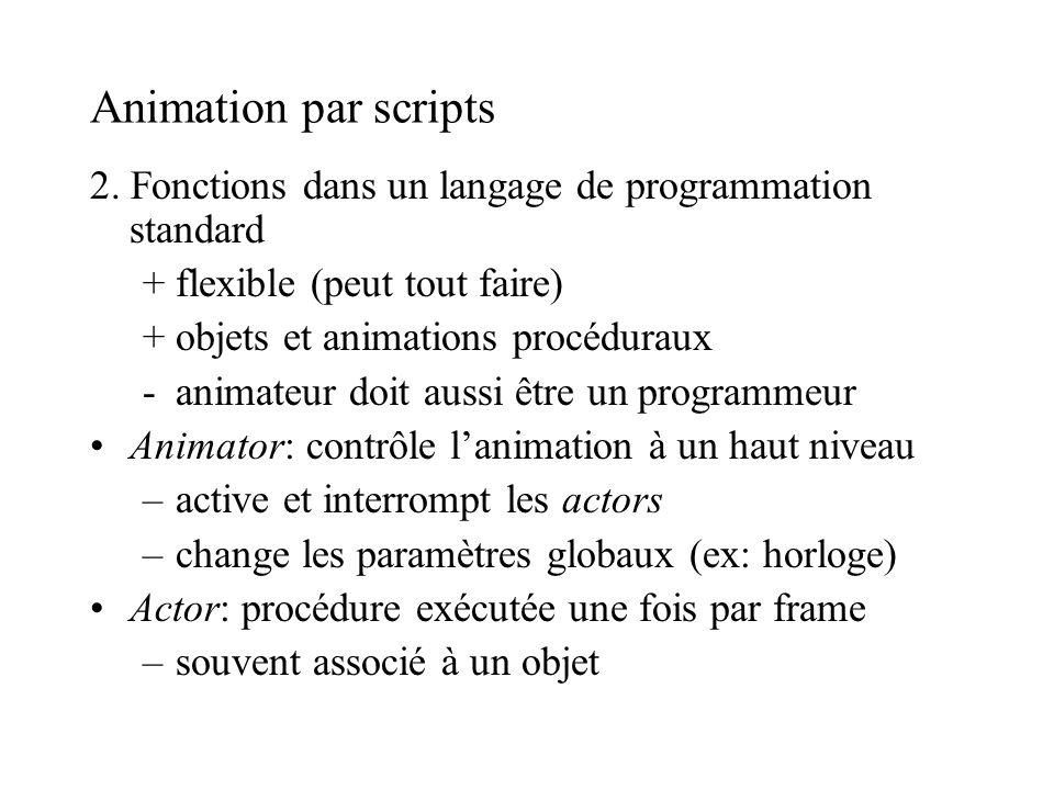 Animation par scripts 2. Fonctions dans un langage de programmation standard +flexible (peut tout faire) +objets et animations procéduraux -animateur