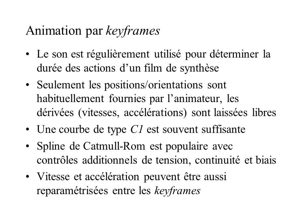 Animation par keyframes Le son est régulièrement utilisé pour déterminer la durée des actions dun film de synthèse Seulement les positions/orientation