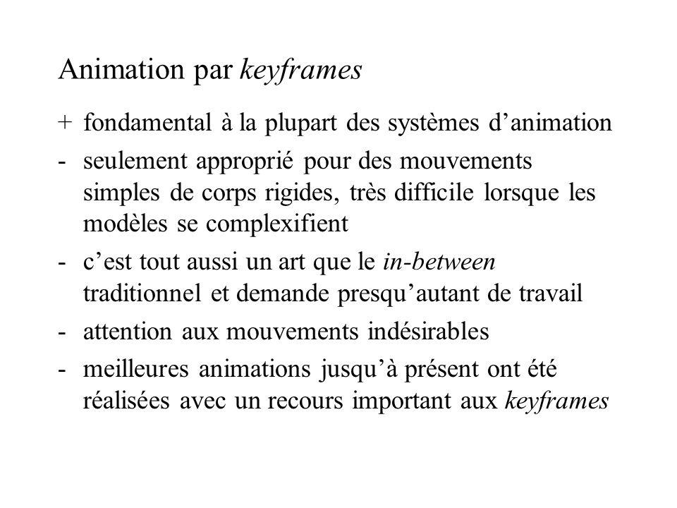 Animation par keyframes +fondamental à la plupart des systèmes danimation -seulement approprié pour des mouvements simples de corps rigides, très diff
