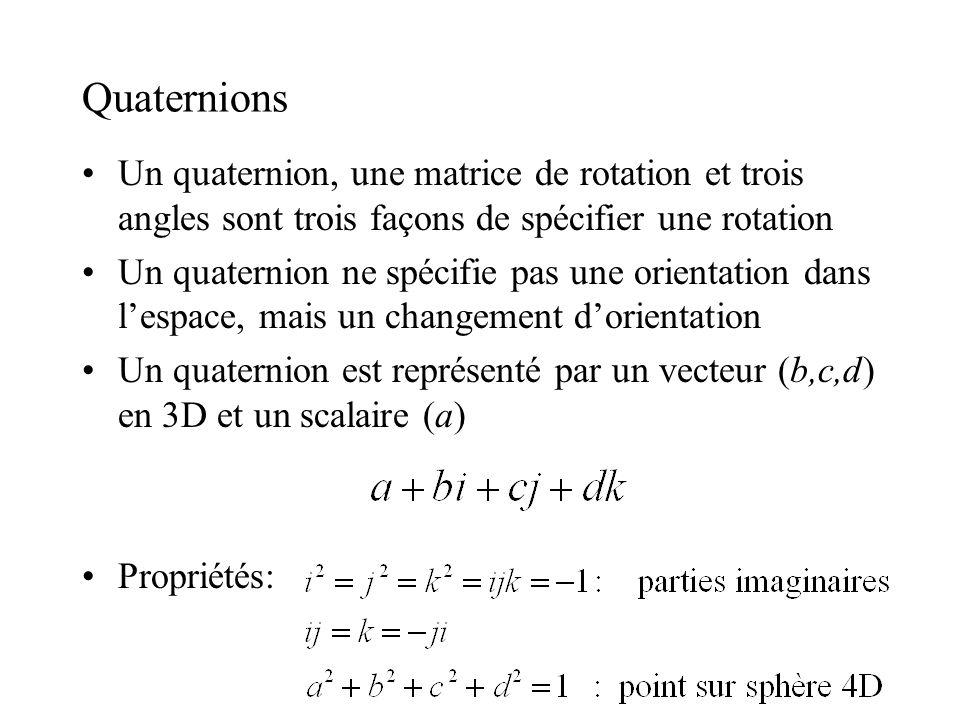 Quaternions Un quaternion, une matrice de rotation et trois angles sont trois façons de spécifier une rotation Un quaternion ne spécifie pas une orien