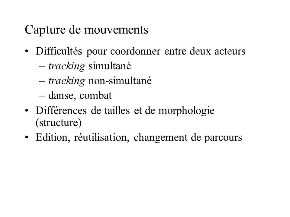 Capture de mouvements Difficultés pour coordonner entre deux acteurs –tracking simultané –tracking non-simultané –danse, combat Différences de tailles