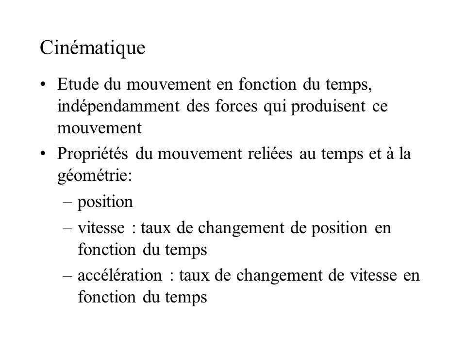Cinématique Etude du mouvement en fonction du temps, indépendamment des forces qui produisent ce mouvement Propriétés du mouvement reliées au temps et