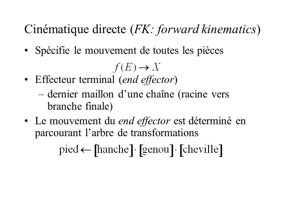 Cinématique directe (FK: forward kinematics) Spécifie le mouvement de toutes les pièces Effecteur terminal (end effector) –dernier maillon dune chaîne