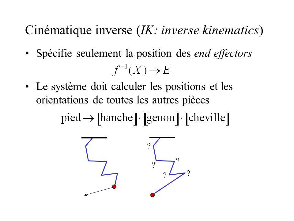 Cinématique inverse (IK: inverse kinematics) Spécifie seulement la position des end effectors Le système doit calculer les positions et les orientatio