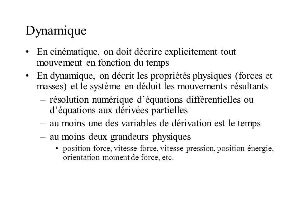 Dynamique En cinématique, on doit décrire explicitement tout mouvement en fonction du temps En dynamique, on décrit les propriétés physiques (forces e
