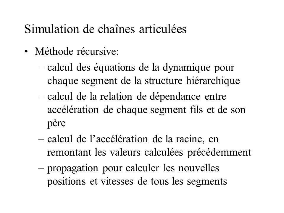 Simulation de chaînes articulées Méthode récursive: –calcul des équations de la dynamique pour chaque segment de la structure hiérarchique –calcul de