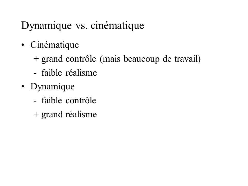 Dynamique vs. cinématique Cinématique +grand contrôle (mais beaucoup de travail) -faible réalisme Dynamique -faible contrôle +grand réalisme