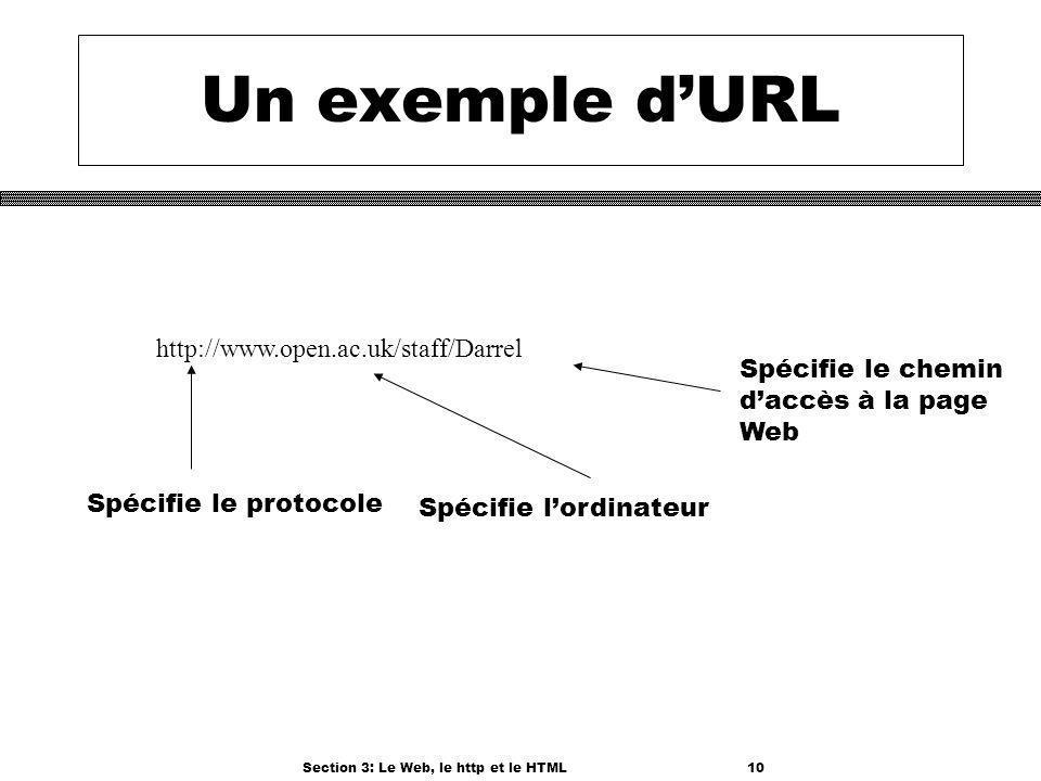 Section 3: Le Web, le http et le HTML10 Un exemple dURL http://www.open.ac.uk/staff/Darrel Spécifie le protocole Spécifie lordinateur Spécifie le chemin daccès à la page Web