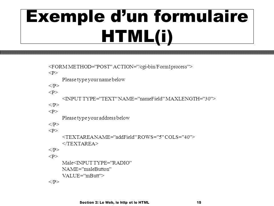 Section 3: Le Web, le http et le HTML15 Exemple dun formulaire HTML(i) Please type your name below Please type your address below Male<INPUT TYPE=RADI