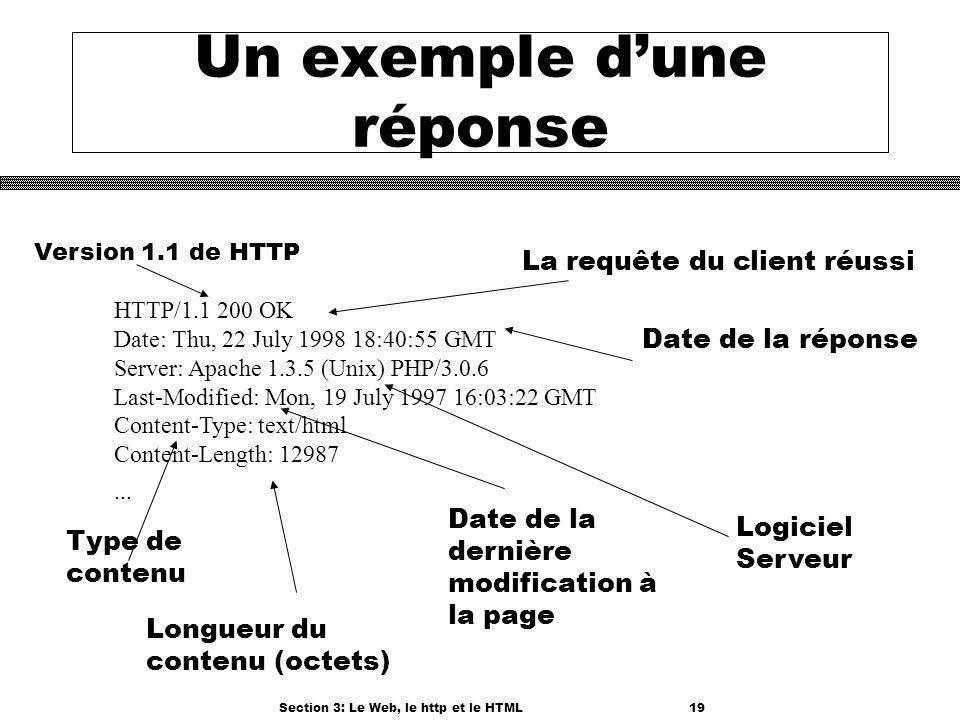 Section 3: Le Web, le http et le HTML19 Un exemple dune réponse HTTP/1.1 200 OK Date: Thu, 22 July 1998 18:40:55 GMT Server: Apache 1.3.5 (Unix) PHP/3.0.6 Last-Modified: Mon, 19 July 1997 16:03:22 GMT Content-Type: text/html Content-Length: 12987...