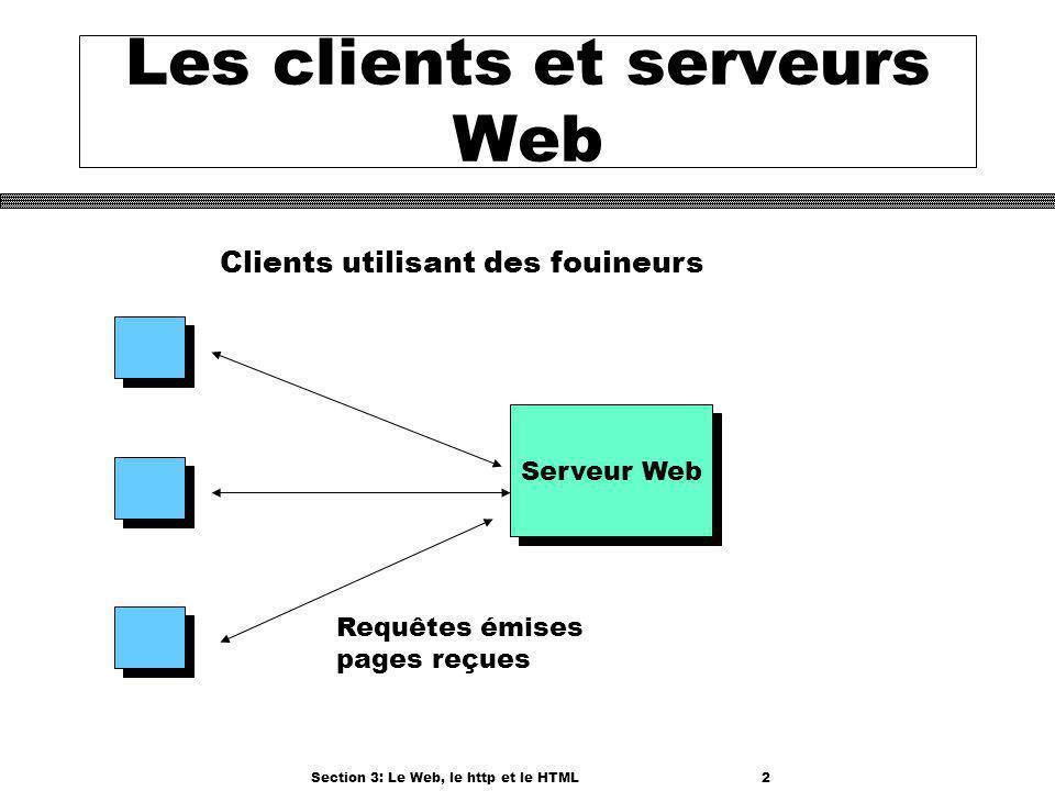 Section 3: Le Web, le http et le HTML2 Les clients et serveurs Web Serveur Web Clients utilisant des fouineurs Requêtes émises pages reçues